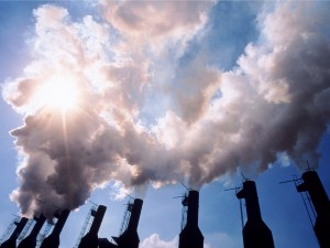 Florida, USA --- Steam Cloud Above Smokestacks --- Image by © Ted Horowitz/CORBIS
